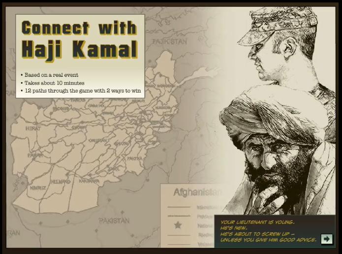 Úvodná obrazovka vetveného scenára Connect with Haji Kamal.
