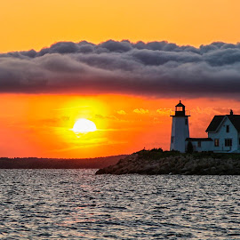 Cloud Bank at Wings Neck Lighthouse by Carl Albro - Buildings & Architecture Public & Historical ( clouds, waterscape, sunset, lighthouse,  )