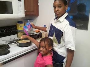 Photo: making dinner