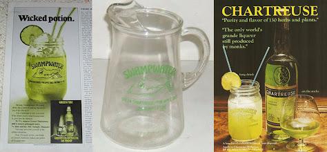"""Photo: More swampwater ! Deux publicités pour le marché anglo-saxon et un pichet pour la party. Noter le """"The only world's grande liqueur still produced by monks""""."""
