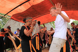Photo: Hospitable people of Belaraghi are familiar with communal dance, a part of their ways of being a good host to friendly visitors. Christian Fritz and his fellows have traveled very far and really enjoyed the dance. http://www.indonesia.travel