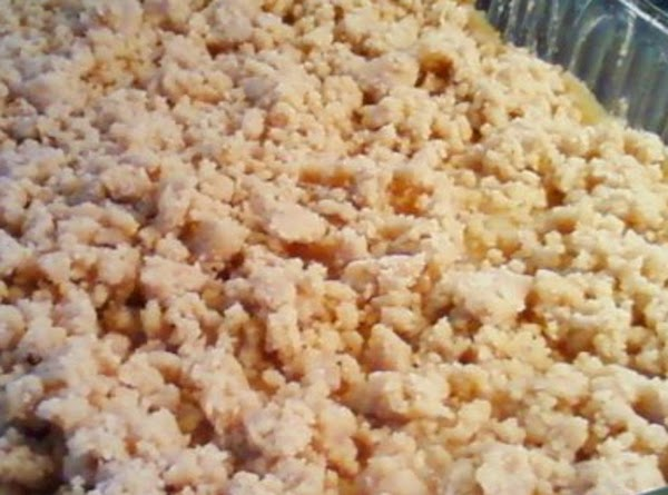 Topping: In a medium bowl mix all dry ingredients. Slice butter into small pats...