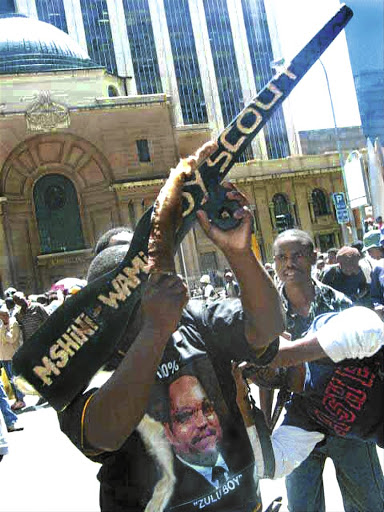 Supporters of Jacob Zuma protest against his rape trial at the High Court in Johannesburg in 2006.