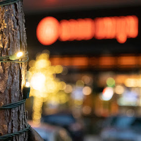 Bokeh Lights by Candra Creason - City,  Street & Park  Night ( city, restarurant, bokeh, dark, lights )
