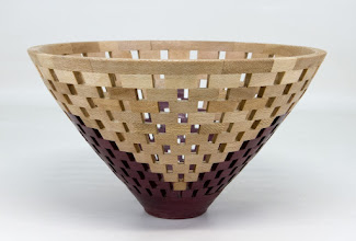 "Photo: Bob Grudberg 8"" x 4"" open-segmented bowl [purple heart, sycamore]"