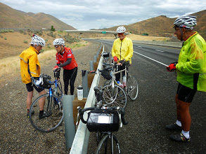 Photo: Day 8 Baker OR to Fruitland ID 83 miles 2100' climbing: Pat gets two flats today