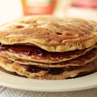 Oatmeal Pancakes with Cherry and Ginger.