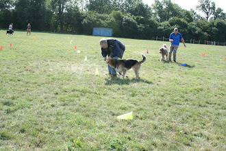 Photo: DogBasics Fun Day 2013 - Spoon Race Slalom and Paul is looking very tangled in Brian's lead in the background!