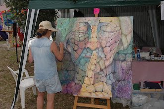 """Photo: Artist Sally Anger works on her mural entitled """"....But They Choose Not To"""" (2004 Mural Competition Theme was """"Walls Can Talk"""""""