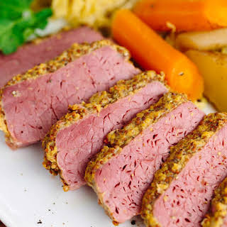 Slow Cooker Corned Beef with Guinness Mustard.