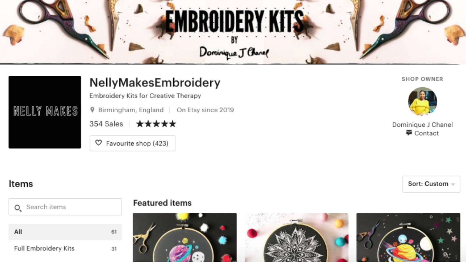 Nelly Makes embroidery Brand exmaple