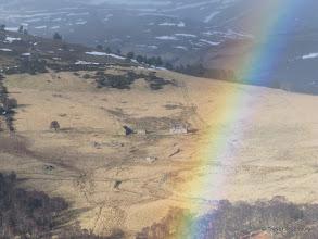 Photo: Rainbow above the ruins of Ardoch in Glen Gairn