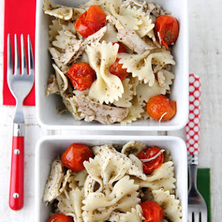 Pesto Pasta with Roast Chicken and Cherry Tomatoes.