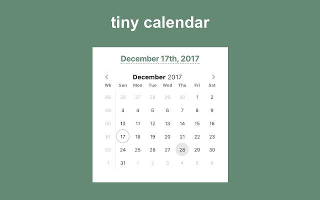 Tiny Calendar.Tiny Calendar Chrome Web Store