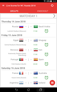 Live Scores for World Cup Russia 2018 Screenshot