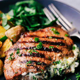 Grilled Spinach and Herb Stuffed Pork Chops Recipe