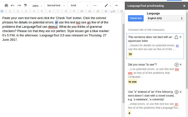 languagetool google docs add on