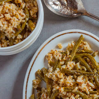 Brown Rice Salad with Roasted Green Beans and Mustard Vinaigrette.