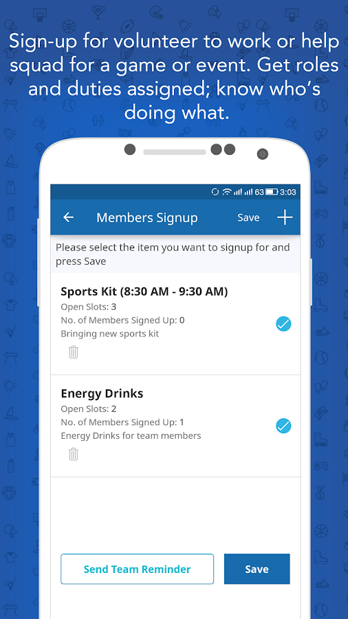 Instateam Sports Team Management for team managers- screenshot
