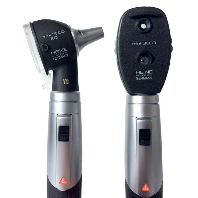 HEINE Mini 3000 F.O. Otoskop + Oftalmoskop + Batterier