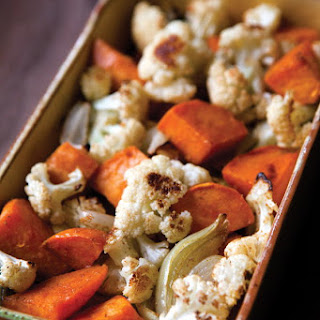 Roasted Cauliflower, Onions, and Sweet Potatoes.
