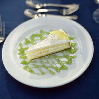 Lemon Layer Cheesecake with Lime Coulis.
