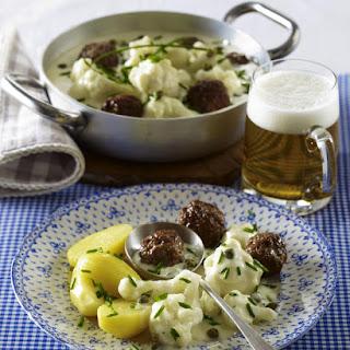 Cauliflower Casserole with Meatballs and Potatoes.