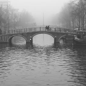 Bridges of Amsterdam by Max Mayorov - City,  Street & Park  Street Scenes ( genre, b&w, black and white, street, amsterdam, bridge, travel )