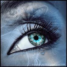 Photo: Beautiful  human eye with orange-blue make up.