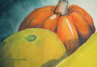 Photo: Watercolor - Detail on pumpkin and melon.