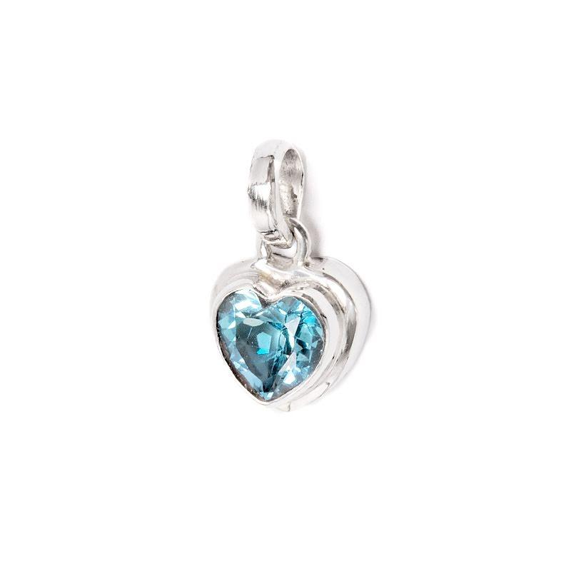 Blå topas, hjärta i silverhänge