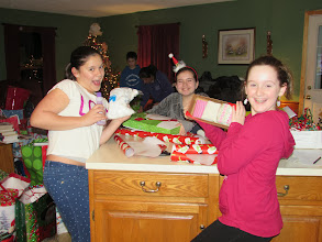 Photo: Rachel, Ava & Lauren wrapping gifts for the kare kits kidz.