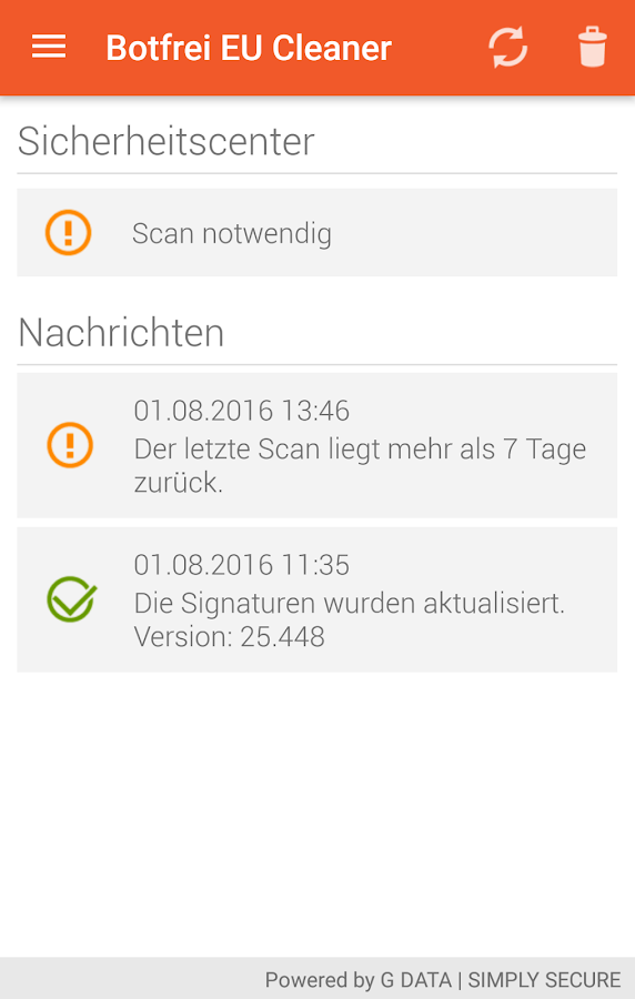 Botfrei EU Cleaner – Screenshot