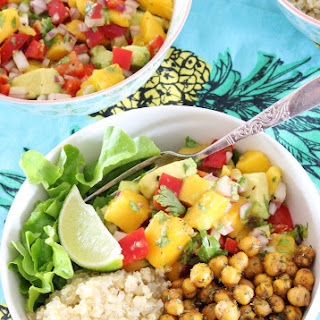 Mango Salsa and Crispy Chickpea Tropical Quinoa Bowls {gf, v}.
