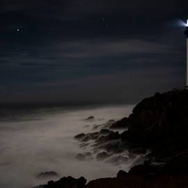 Pigeon Point Lighthouse by Sean Markus - Novices Only Landscapes ( beaches, rough seas, pigeon point light house, california, california coast, pigeon point, night shot, light house )