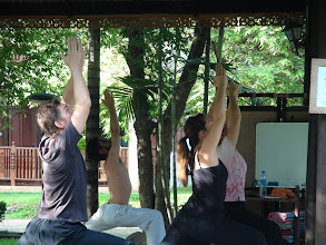 Photo: Daniel teaching the particpants a variation of Virabhadrasana - The Warrior Pose