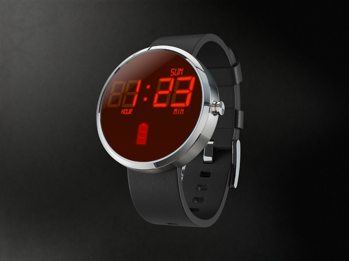 RedLed Digital Watch Face- screenshot