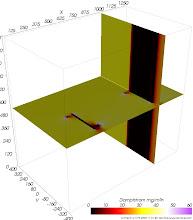 Photo: Dampfdiffusions-Stromdichten auf Schnittebenen (zur Identifikation von Dampfdiffusionsbrücken) Farbskala: Astronomie Werteintervall: 0-60 mg/m²h