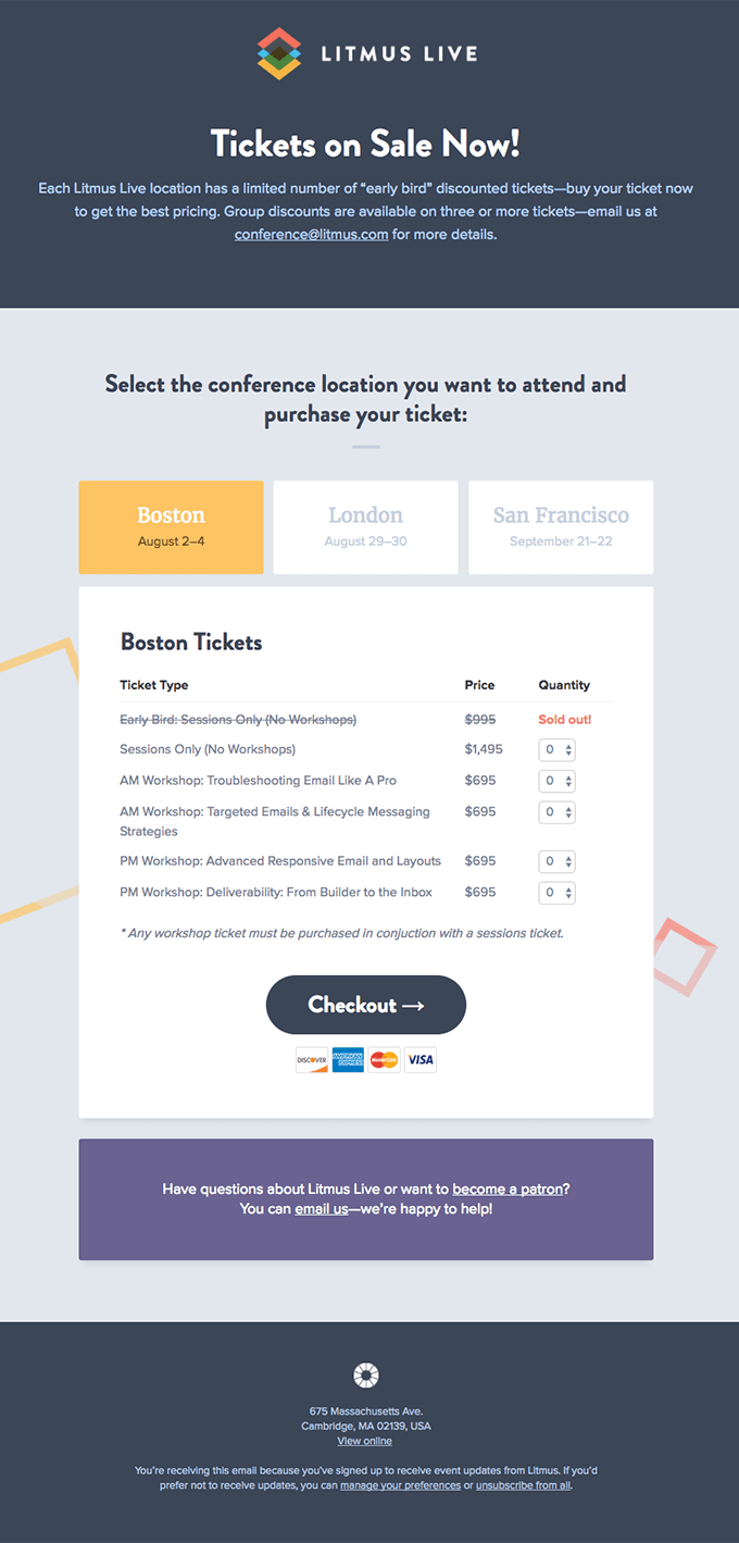 "Litmus Live ""Tickets on Sale Now!"" event invitation email template"
