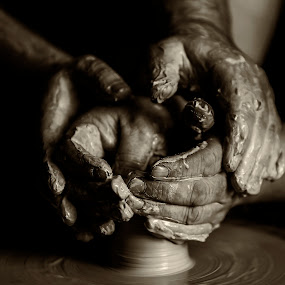 Gentle Touch by Russell Mander - People Body Parts ( pottery, sepia, hands, b & w, clay,  )