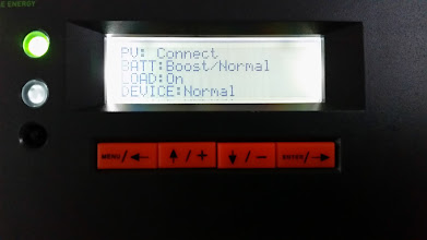 Photo: [Device replaced with a Victron unit now] Summary screen on solar charge controller