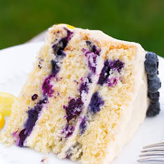 Lemon Blueberry Cake with Cream Cheese Frosting.