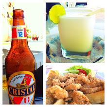 Photo: Cristal - Peruvian beer; Pisco Sour (Pisco, lemon and lime juice, sugar, ice); chicharrones pescado.  Meal in town of Los Organos, Peru.  June 2012.