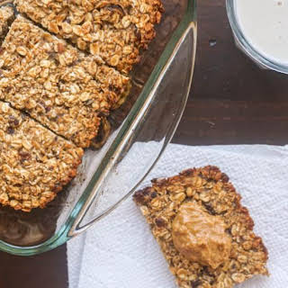 Banana Peanut Butter Oat Bars with Dates.