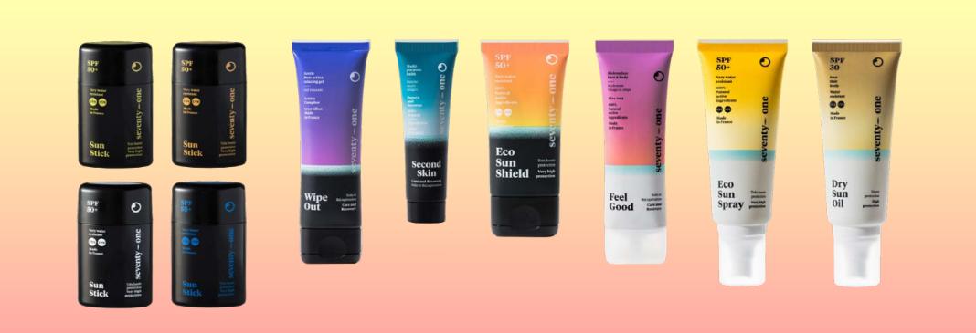 Gamme de produits 71% - crèmes solaires - Sticks solaires - Sprays protecteurs solaires