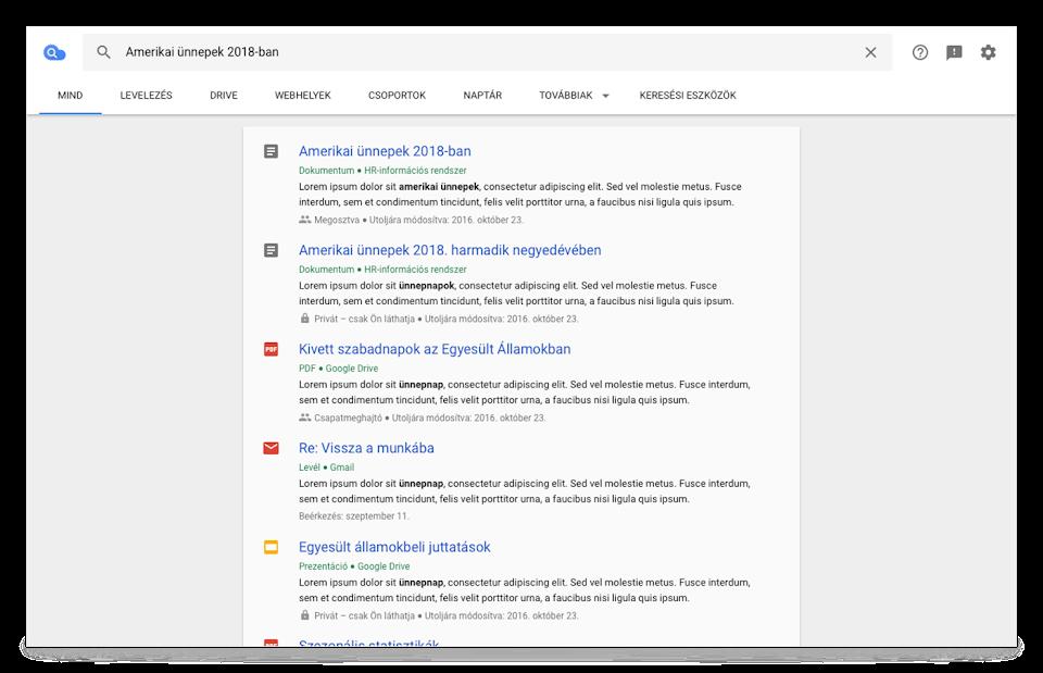 A Cloud Search böngészőnézete