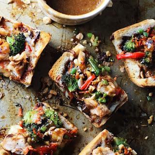 Spicy Thai Chicken French Bread Pizzas.