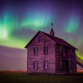 Chapel lights by Charles Adam - Buildings & Architecture Other Exteriors ( cabin, church, spectrum, colors, green, flat, northern lights, aurora, aurora borealis, house, yellow, chapel, prairie, colours, farm, field, northern, lights, red, blue, night, historical )