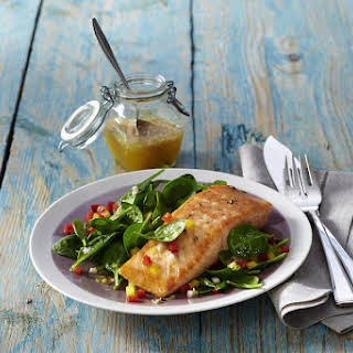 Salmon with Spinach Salad with Ginger Citrus Dressing.