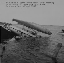 Photo: Norrseman CF-MAR broke loose from buoy during 70 mph gale and drifted into some pier pilings.